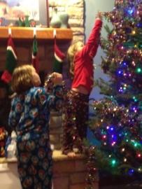 Decorating the tree 2011.... Dr. Evil still in hospital.....