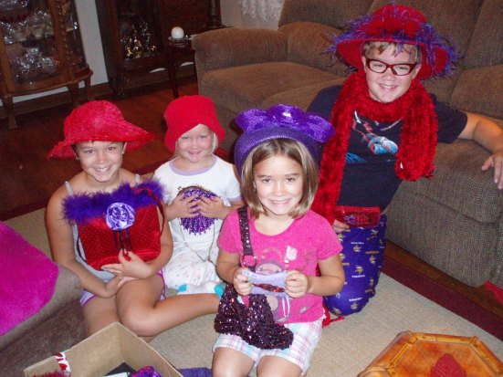From a while ago...Playing with Grannie's Red Hat Society stuff.